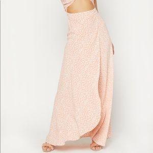 Flynn Skye Wrap it Up Maxi Skirt Peach Lotus